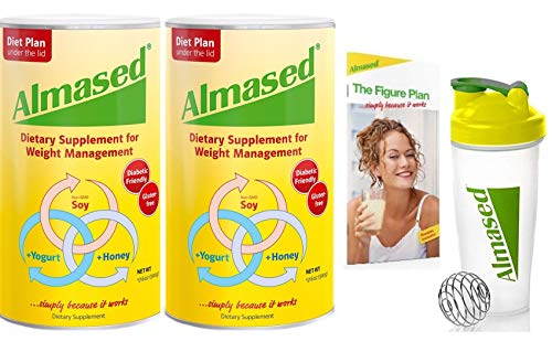 Almased Meal Replacement Shake - Plant Based Protein Powder - Shake for Weight Management(2 pack +Blender Bottle Shaker and Diet Recipe Book) (Misc.)