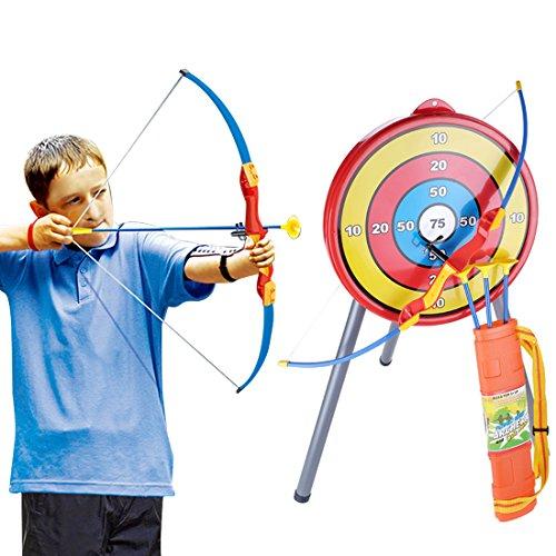 YAKOK Bogen Kinder, Bogenschießen Set Kinder Pfeil und Bogen Set mit Zielscheibe, 3 Saugnapf Pfeilen, Köcher, Stander für Kinder 3-8 Jahre