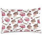 Pamela Hill Funda de Almohada de poliéster de Cupcake de Cereza Dulce y Chocolate, Cubierta con Funda de Almohada con Cremallera Tamaño de impresión de Dos Lados 20x30 Pulgadas
