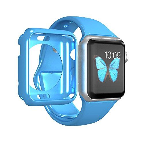 Luvvitt - Custodia trasparente in morbida gomma TPU con pellicola proteggi schermo in vetro temperato per Apple Watch/Sport/Edition 38 mm