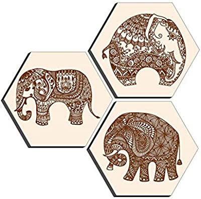 SAF Set of 3 Hexagon Elephant Modern Art MDF Board UV Textured Painting 17 Inch X 17 Inch SANFHXS30379