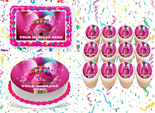 Trolls World Tour Cake Topper Edible Image Personalized Cupcakes Frosting Sugar Sheet (8