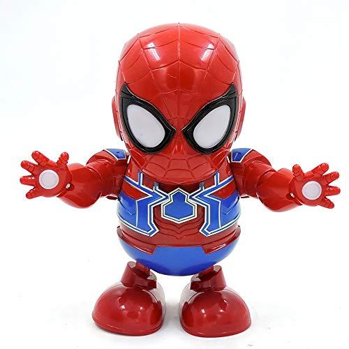 Robot de Danse, Mini Spiderman PVC Électrique Super Play comme Doigts Avengers Jouets avec Musique Action Figure Collectionner Enfants Garçons Filles Cadeau Jouets