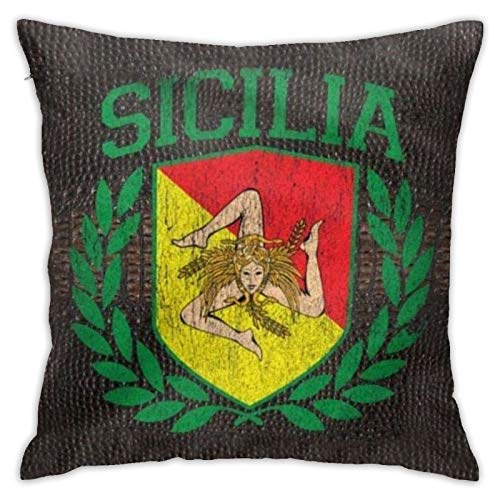 Square 18x18 Inches Decorative Pillowcases Sicilian Coat of Arms Pillow Covers Cushion Cases for Sofa Bedroom Car