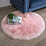Ashler Faux Fur Pink Round Area Rug Indoor Ultra Soft Fluffy Bedroom Floor Sofa Living Room 3 x 3 Feet