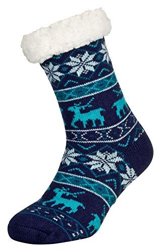 Tobeni 1 Paar Damen Hüttensocken ABS Socken Kuschelsocken mit Anti-Rutsch Noppen Sohle Grösse One Size Farbe Deer Blau