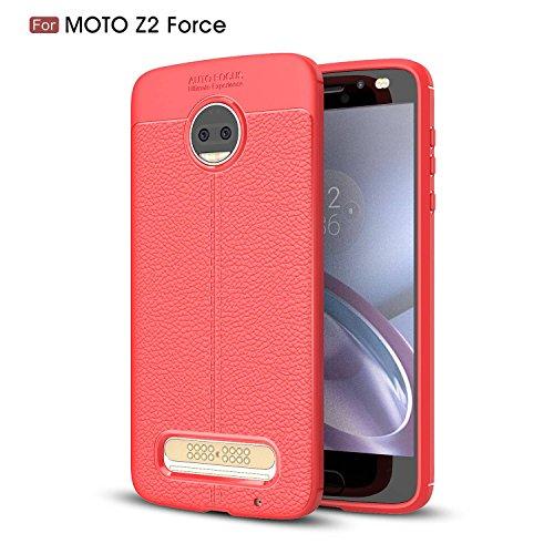 Ycloud Silikon TPU Schutzhülle für Motorola Moto Z2 Force Weich Ultra Dünn Hülle Stoßfest Anti-rutsch Back Cover Litschi Textur Rot Tasche für Motorola Moto Z2 Force