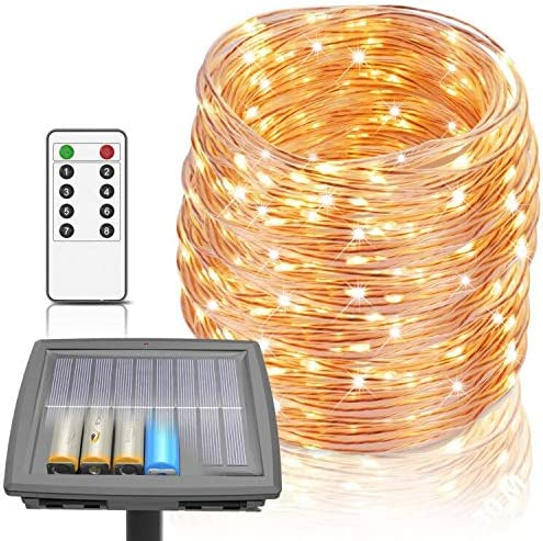 Solar Lights Outdoor 100 ft String Lights Powered by Solar and Batteries 8 Modes 300 LEDs IP67 product image