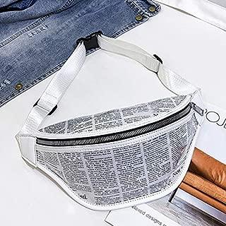 Fashion Single-Shoulder Bags Fashion Newspaper Printing Plastic Transparent Jelly Waist Chest Bag Single Shoulder Bag Messenger Bag (Black) (Color : White)