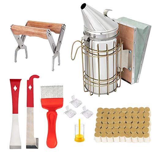 Kit de herramientas de apicultura, juego de 10 ahumadores, 54 piezas de pellets de ahumado, gancho en J, accesorio de apicultura para suministros de iniciación de apicultura