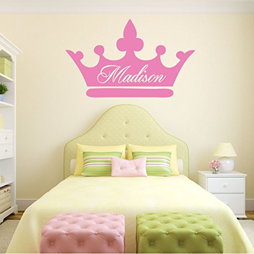 Room Wall Decor  Princess Crown with Customized Name Vinyl Decal Stickers for Home in Teen Kids Baby Girls Bedroom Bathroom Nursery or Dorm  Custom Sizes and Colors Fit Any Themed Living Space