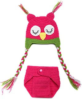 GUST Newborn Photography Props Infant Crochet Knit Sleepy Owl Hat Costume Outfit Rose Red