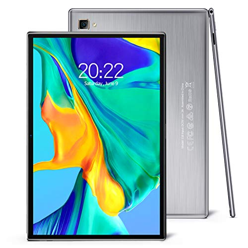 Pritom 10 inch Android Tablet Octa-Core, 3GB RAM, 5G WiFi, GPS, Bluetooth 5.0, 2.5D Glass Screen, Dual Camera & Double Speakers - Android 10.0 Tablet, Silver