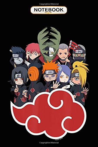Notebook: Naruto Shippuden Akasuki Group SD , Journal 6x9, 100 Pages Bank Lined Paperback Journal/ Composition Notebook/Anime gifts Notebook