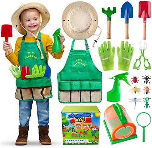 Kids Gardening Tools Set Bug Catching Kit with Garden Gloves Washable Apron Sun Hat Premium product image