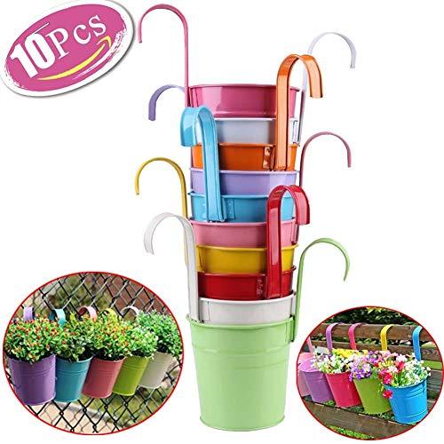 (Lot de 10) Ydj Crochet amovible en métal Seau Pot de fleurs coloré Jardin Pots de fleurs à suspendre/pots/pots de balcon Pots de fleurs