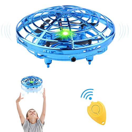 HAUEA Flying Toys Drones 2 Speed Hand Operated Drone for Kids Adults Toddlers 720°Rotating Mini UFO Drones Hand Controlled with Remote Control Flying Ball Drone Toys for Boys or Girls (Blue)