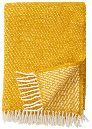 Klippan: Creme-gelbe Wolldecke 'Velvet' 130x200cm aus Lambswool (gelb)