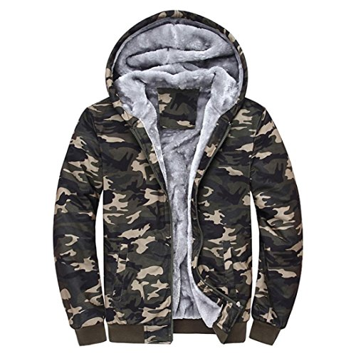 SUCES Herren Camouflage Hoodie Winter warme Fleece Zipper Sweater Jacke Outwear Mantel Kapuzenpullover Gefütterte Sweatjacke Zip-Hoodie Jacke mit Kapuze Winter Kapuzenpullis (Multicolor, XL)