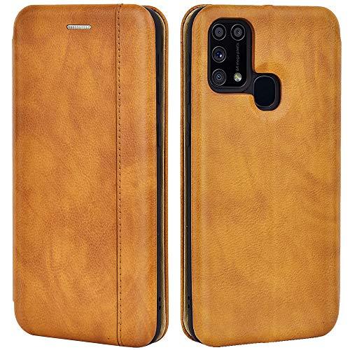 Leaum Leder Handyhülle für Samsung Galaxy M31 Hülle, Premium Samsung M31 Klapphülle Handytasche Stoßfest Schutzhülle, Braun
