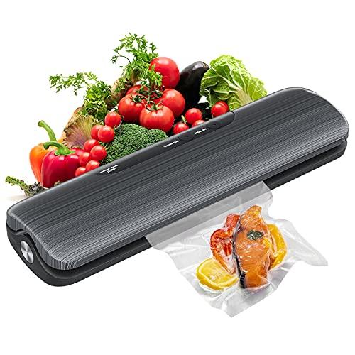 Vakuumiergerät, Automatischer Vakuumierer für Lebensmittel Trockene und Feuchte, bis 30cm Breite, Folienschweißgerät mit 10 Vakuumierbeutel