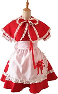 qyy Anime Game Little Red Riding Hood Apron Gothic Dress Making Costumes Halloween Halloween Cosplay Costumes,Red-XL