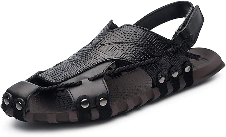 Men's PU Retro Leisure Sandals Lightweight Non-Slip Velcro Sandals Breathable Refreshing Beach shoes