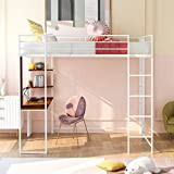 Loft Bed with Desk , Metal Loft Bed Full Size with 2 Shelves and 2 Build-in ladders ,Space Saving Design, High Loft Bed for Kids and Teens, White