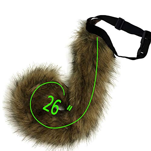 HAOAN Adults 26 Inch Wolf Tail Soft Long Fur Cat Fox Costume Tail for Halloween Fancy Party Costume