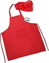 Kids Apron and Hat for Cooking Baking,Kids Baker Costume for Birthday Party,Halloween,Canvas Children Chef Apron with Pocket for Personalized Embroidered Decorate(Large 9-14Y, Red)