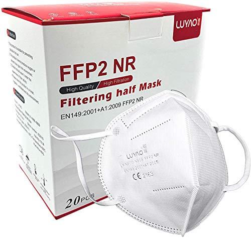 LUYAO Atemschutzmaske FFP2 Maske - EU CE 2163 Zertifiziert EN 149 Schutzmaske 20 Stück WEIß, S, cosmo10
