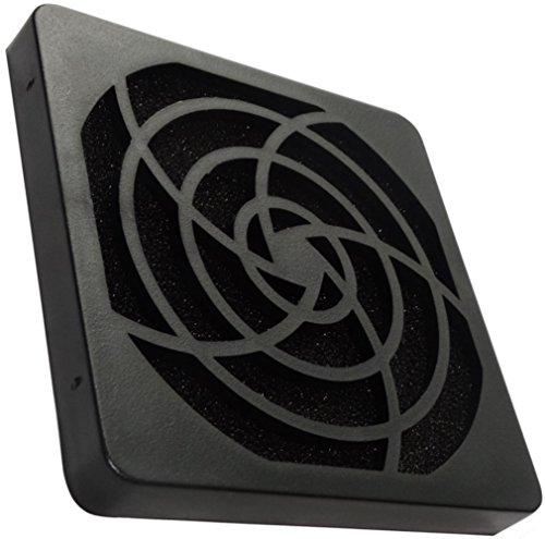 Aerzetix - 2 x griglia nera di protezione C15117 80 x 80 mm ventilazione con filtro 45ppi sacco per ventilatore della COMPUTER PC .