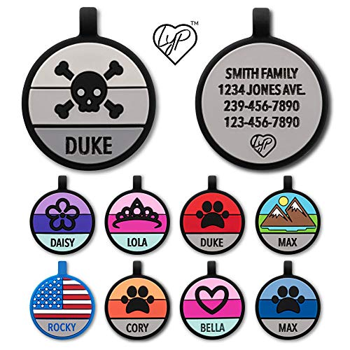Love Your Pets Soundless Pet Tag - Designer Deep Engraved Silicone – Double Sided and Engraving Will Last - Many Design Choices of Pet ID Tags, Dog Tags, Cat Tags (Grey, Skull)