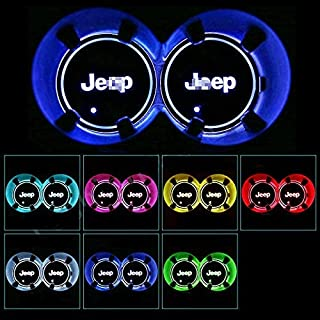 2x for Jeep Car Coasters, Colorful LED Cup Holder Mat Lights with USB charging, 7 Color Changing Auto Interior Atmosphere Lights