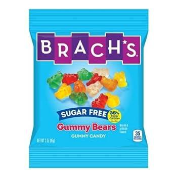 Brachs Sugar Free Gummy Bears Candy 3.5 Ounce Peg Bag -- 12 per case.