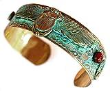 Elaine Coyne Wearable Art Patina Egyptian Motif Winged Scarabs Cuff - Carnelian, Turquoise