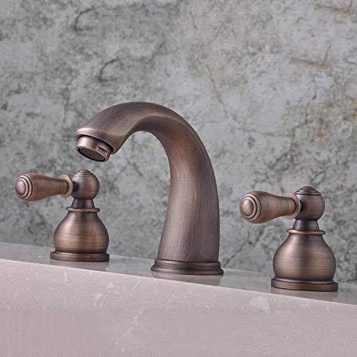 MLFPDXC-Grifo de tres orificios de estilo europeo, bañera retro, grifo de baño de cobre en la pared