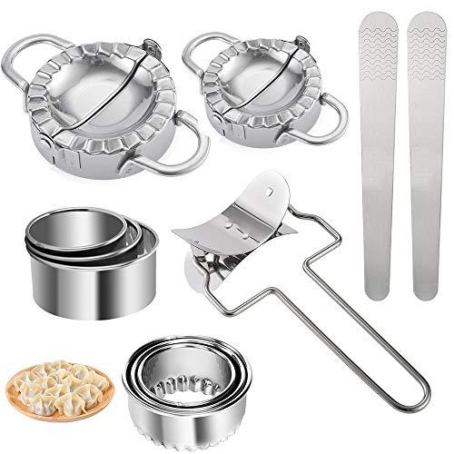 ConBlomi 11 Stück Dough Press Set, Edelstahl Dumpling Maker, Knödel-Hersteller, Ravioli Ausstechformen, Tortellini Form, DIY Gebäck-Werkzeuge