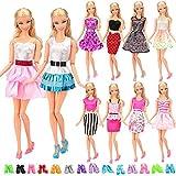 Miunana 5x Vestidos de noche + 10 Zapatos Vestir de Fiesta Faldas Suave Ropas Fashion Hechos a Mano Accesorios para 11.5 Pulgadas 28 -30 CM Muñeca Doll Estilo al Azar