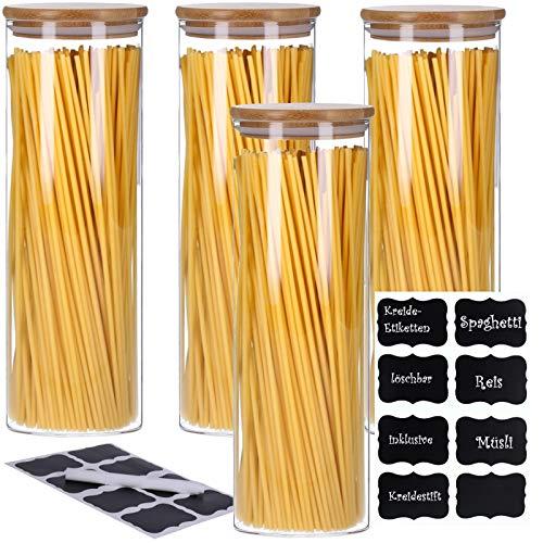 TALK-POINT 4er Set Vorratsdosen aus Glas mit Bambusdeckel, Vorratsgläser, Glasbehälter, Spaghetti- Glas | inkl. 8 Kreideetiketten und Stift | luftdicht, Spülmaschinenfest, Mottensicher (4X 2200 ml)