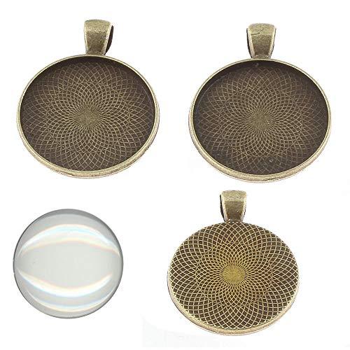 Perlin 6 Set Medaillons Bronze Metall Anhänger Fassungen und 20mm Rund Klar Glas Cabochon, Fassung Rahmen Super Optik Bastelset (Bronze)