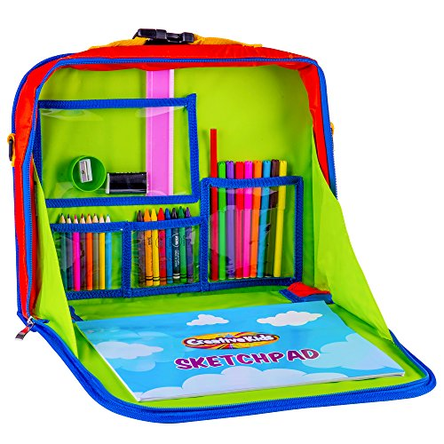 Creative Kids Travel Fun Desk � Portable Car Seat Tray Organizer w/Drawing Coloring Set � Backpack Activity Station w/Storage for Tablet, Crayons, Crafts & Other Road Trip Supplies - 30 Piece Kit