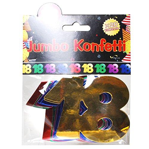 Udo Schmidt Confetti Jumbo cijfers voor verjaardag, 18 jaar, tafeldecoratie, meerkleurig