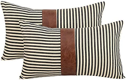 cygnus Farmhouse Decoration Lumbar Throw Pillow Covers 12x20 inch Set of 2 Faux Leather and product image
