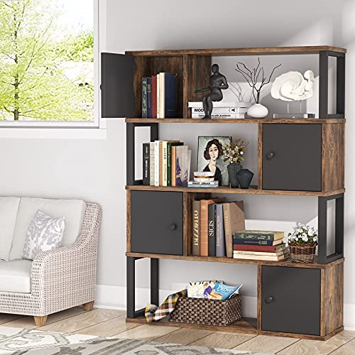 Tribesigns Bücherregal, Industrie-Bücherregal, 4 Ebenen, Wohnzimmer-Aufbewahrungsschrank mit 4 Türen und offenen Regalen, Vintage-Bücherregale aus Holz für Zuhause und Büro