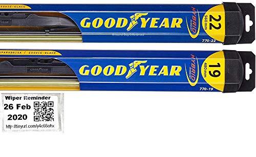 Hybrid - Windshield Wiper Blade Set/Kit/Bundle for 2010-2014 Mercedes-Benz GLK350 - Driver & Passenger Blades & Reminder Sticker
