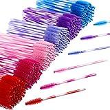 eBoot 300 Pieces Colored Disposable Mascara Wands Eyelash Eye Lash Brush Makeup Applicators Kit (Multicolor Handle, Multicolor Head)