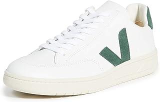 Veja Sneaker V-12 In Pelle Bianca Con Logo In Suede Verde, Größe Uk:
