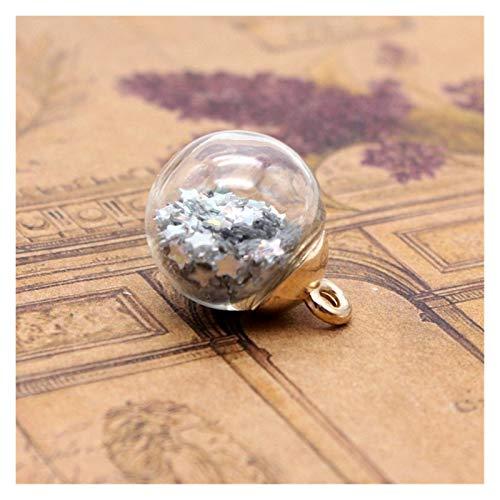 CML 10pcs 15.5mm Redonda Bola de Cristal Transparente de Color Pentagram Pendientes de Las Lentejuelas DIY Adornos de Navidad joyería Pendiente de los Accesorios (Color : Silver)