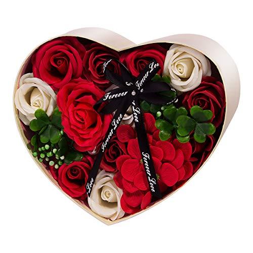 ANBET Confezione Regalo Fiori Finti Sapone Artificiale Conservato per Sempre Regalo Floreale per Donna per la Festa della Mamma,Festa degli Insegnanti, Matrimonio (Rosso)